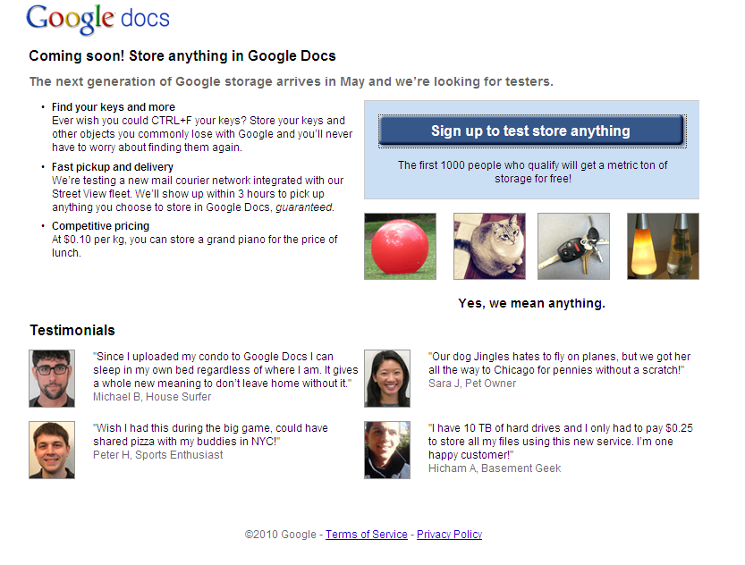 Upload and store anything with Google Docs!
