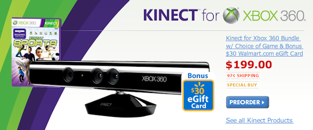 Awesome Kinect bundle for $200 from Walmart!