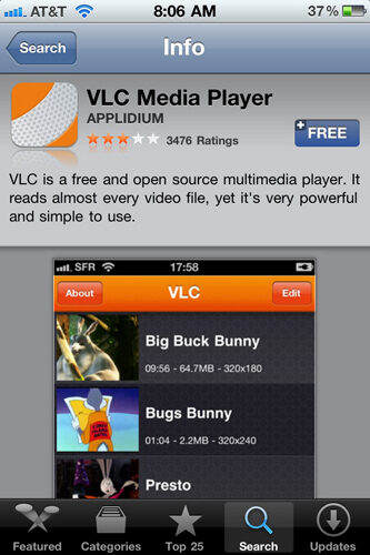 VLC Media Player now available for iPhone