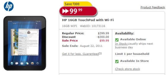 HP Slashes TouchPad to $99!