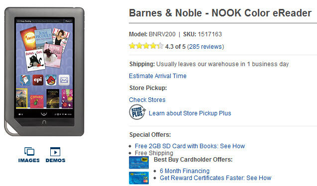 Nook Color Now Selling For Just $199 On Best Buy
